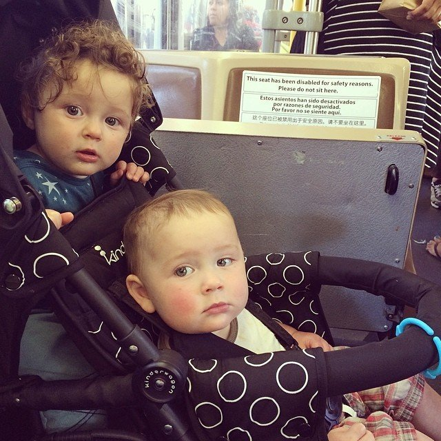 Hugo and Mose ride the bus!  Thanks to a recent change in MUNI rules, strollers are now allowed on buses. It is great not to take the car!  http://www.tripadvisor.com/ShowTopic-g60713-i30-k6207041-Change_In_Muni_s_Policy_on_Strollers-San_Francisco_California.html