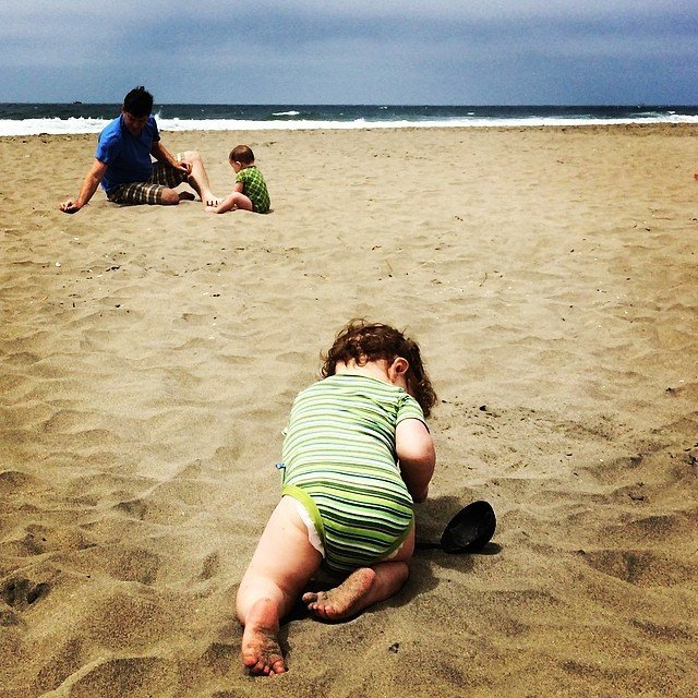 #Hugo&Mose take the beach (with a little help from Dad). #oceanbeach