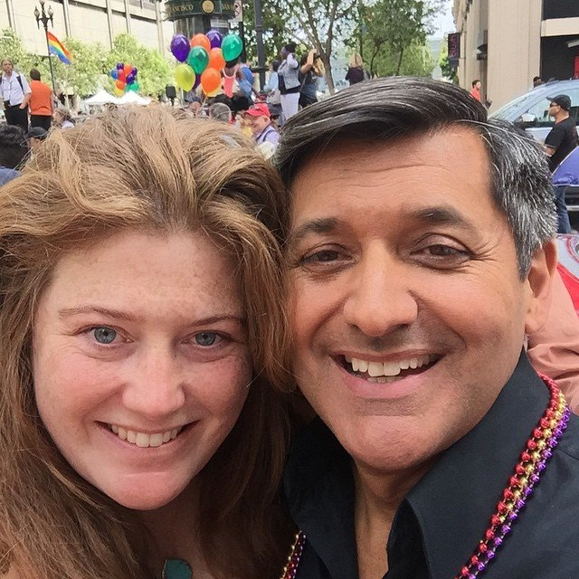 With Jose at #pride2015 #living415 #hugo&mose have their own float